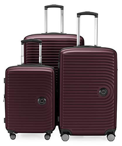 Hoofdkoffer - midden - 3-delige kofferset - cabinetrolley 55 cm, middelgrote koffer 68 cm + grote reiskoffer 77 cm, harde schaal ABS, TSA, Bourgondië