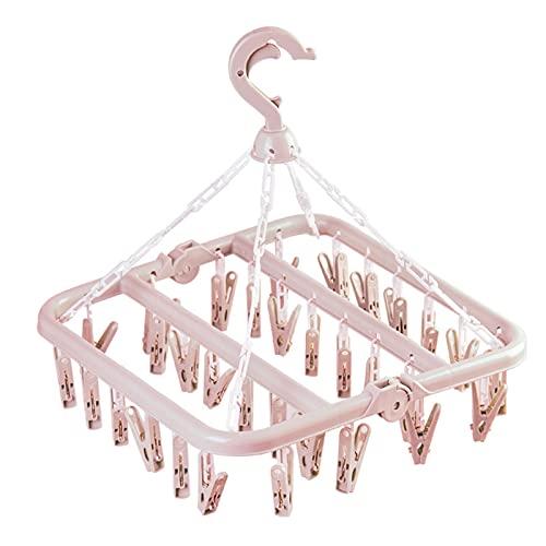 JZ&TS Magic plegable percha multifuncional 32 clip secado rack ropa de adulto colgante niño ropa interior calcetines rack plástico suspensión (rosa)