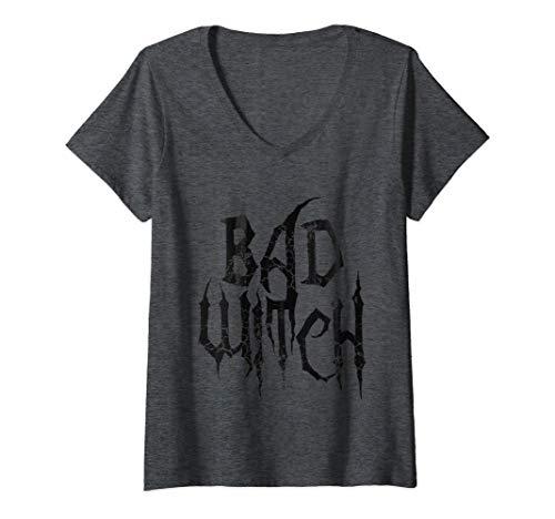 Mujer Disfraz de bruja mala de Halloween Camiseta Cuello V