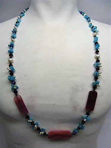 Natural mente – Agate, collier, env. 65 cm, pierre naturelle, collier, chaîne, agate, n ° 1043