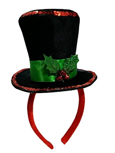 Mini Snowman Caroler Top Hat Headband Christmas Mistletoe Holly Berries Costume Black