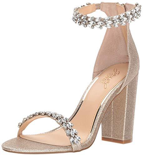 Jewel Badgley Mischka Women's Mayra Sandal, Gold Glitter, 9 M US