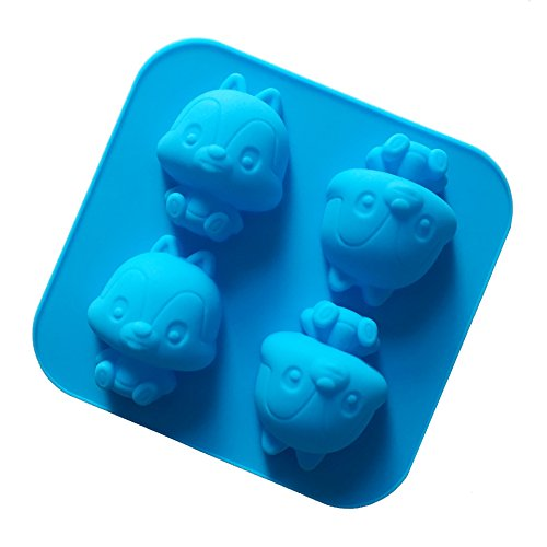 Always Your Chef 4-Cavity Silicone Cute Squirrels Shaped Handmade Soap Molds Chocolate Molds, Random Colors