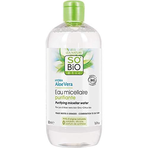 So' Bio étic, acqua micellare purificante per pelli miste a grasse, idratante, all'aloe vera, bio, 500 ml