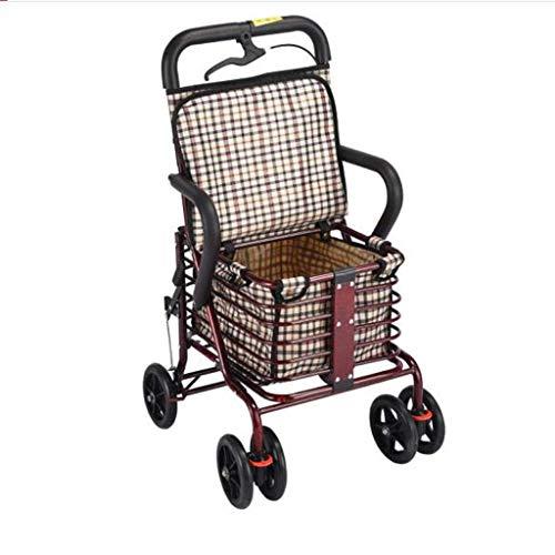 LLDKA winkelwagentje, trolley en oud, draagbare boodschappentrolley, twee wielen, oude, inklapbare stoel met wielen, veiligheid, scooter klok, eenvoudige handrem +
