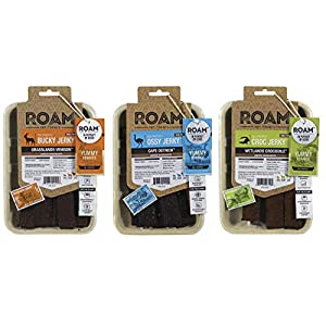 Roam Pet Treats Exotic Game Jerky for Dogs – Ostrich, Venison and Crocodile Jerky Dog Treats, Non-GMO, No Antibiotics or Growth Hormones – Variety Pack of 3, 5 Ounce Each