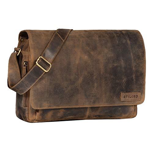 STILORD \'Rick\' Schultertasche Leder für 15,6 Zoll Laptop Umhängetasche Aktentasche Bürotasche Unitasche Büffel-Leder, Farbe:Calais - braun