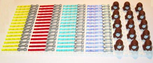LEGO Star Wars - Espadas láser (60 unidades, 4 colores con mango y 15 tapas de Jedi marrón)