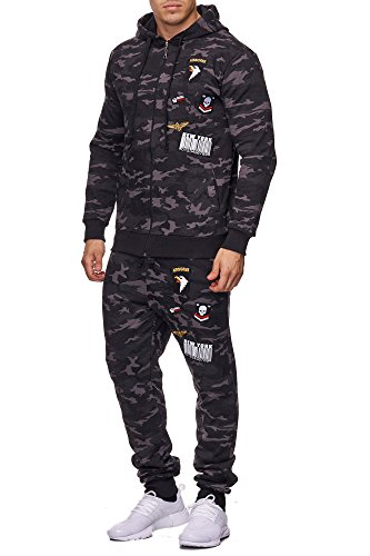 Violento Herren Jogging-Anzug   USA-Patches 685 (L-Slim, Anthrazit-Camouflage)