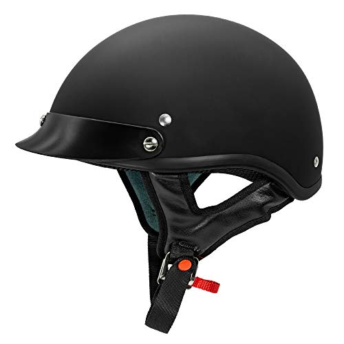 VCAN Cruiser Solid Flat Black Half Face Motorcycle Helmet (Medium)