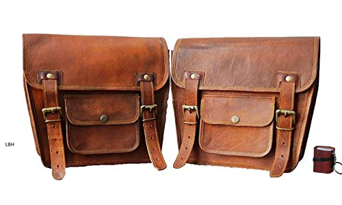 LBH 2 X Motorcycle Side Pouch Brown Leather Side Pouch Saddlebags Saddle Panniers (2 Bags) Pre Valentines Day Special Sale With Free Key Chain