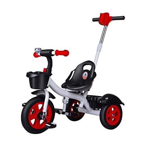 Triciclo triciclo triciclo de 1 año de edad, 2 ruedas Toshizo pedal bicicleta 2 en 1 putter para padres para niños 1 2 3 4 5 6 años niños y niñas es adecuado para el compartimento