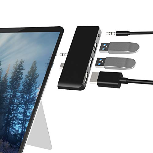 Arkidyn Surface Go Docking Station, 4 in 1 Surface Go 2 USB Adapter with HDMI Support 4K @ 30Hz, USB 3.0/2.0 Port, 3.5mm Audio/Headphone Jack Combo Adapter for Surface Go/Go 2 accessories