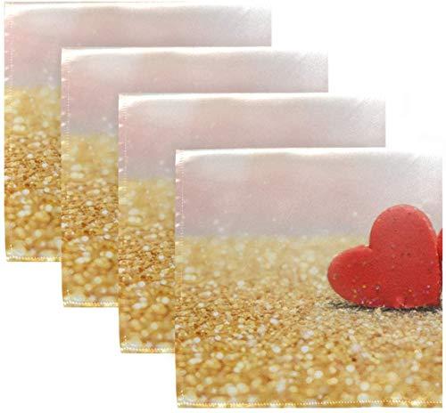 Set di 4 cuori rossi su glitter dorati Fuzzy Romantic Love San Valentino Tovaglioli di stoffa Tovaglioli di stoffa in poliestere lavabile 20 'x 20' per tavolo da pranzo Festa di matrimonio Vacanz