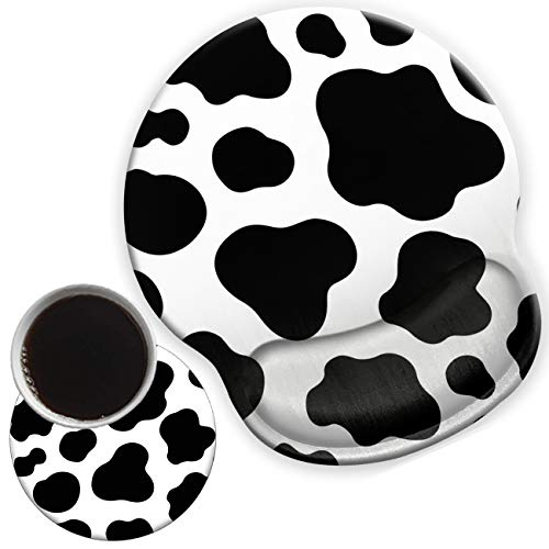 Ergonomic Mouse Pad with Gel Wrist Support for Home Office Efficient Working, Non-Slip Comfortable Mousepad for Easy Typing Pain Relief Cow Texture Pattern