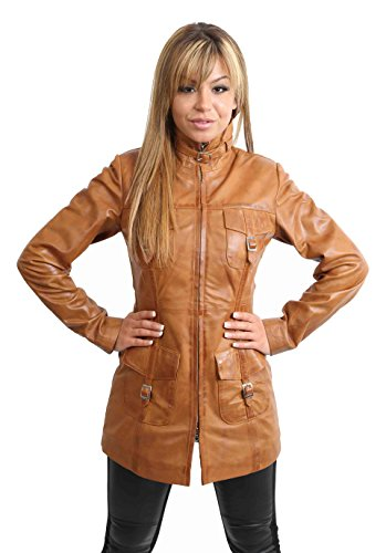 House of Leather Damen Zip up Lederjacke Mittlere Länge Slim Fit Stil Casual Mantel Kendall Hellbraun (18)