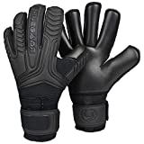 Renegade GK Vulcan Onyx Goalie Gloves with Fingersaves | 3.5+3mm Hyper Grip & 4mm Duratek | Black Soccer Goalkeeper Gloves (Size 6, Youth, Kids, Roll Cut, Level 3)