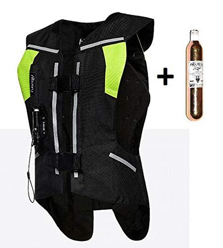 Chaleco Airbag para Moto. Protección para Espalda, Pecho, Cuello y coxis con bombona de CO2 - Color Negro