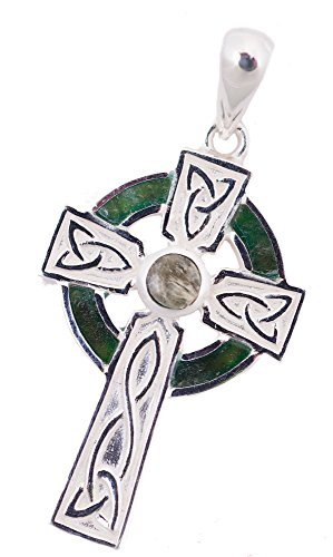 """Celtic Cross Necklace for Women in Silver with Connemara Marble on 18"""" Chain."""