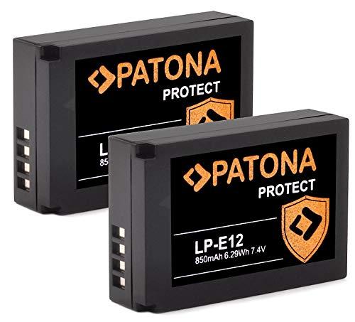 PATONA (2X) Protect V1 - LP-E12 Akku (850mAh) mit NTC-Sensor und V1 Gehäuse