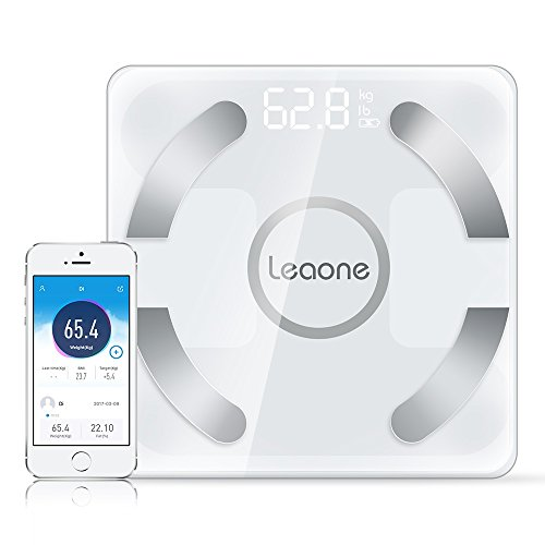 Leaone Body Fat Scale 30x30cm, USB Charging, White LED, Smart Bluetooth Digital BMI Weight Scale, Body Composition Analyzer Health Monitor with 6mm Tempered Glass with Smartphone App, 400 lbs, White