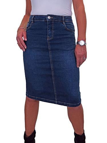 icecoolfashion Falda De Jeans De Mezclilla por Debajo De La Rodilla para Mujer con Estiramiento Azul Lavado Oscuro 38-48 (48)