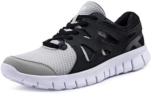 TSLA Men's Sports Running Shoes, Lightweight Breathable Walking Casual Sneakers, Performance Gym Training Athletic Shoes, Flex Mesh Black & Grey, 11