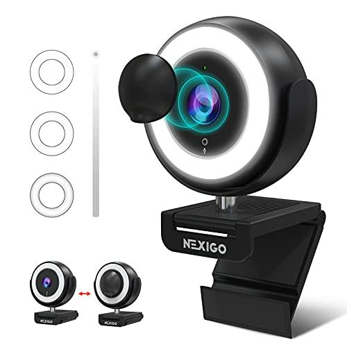 1080P Webcam with Ring Light and Software Control, 2021 NexiGo N660E Streaming Web Camera, Adjustable Brightness, Privacy Cover, Dual Noise Reduction Mics, for Zoom Skype Teams, Black