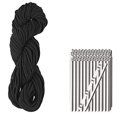 """54 Yds Black 1/8"""" Round Elastic Band Ear Loop Cord+50PCS Aluminum Nose Bridge Self-Adhesive Clips DIY Handmade Sewing Craft High Elasticity Stretch String Flexible Strip Adjustable Metal Bendable Wire"""