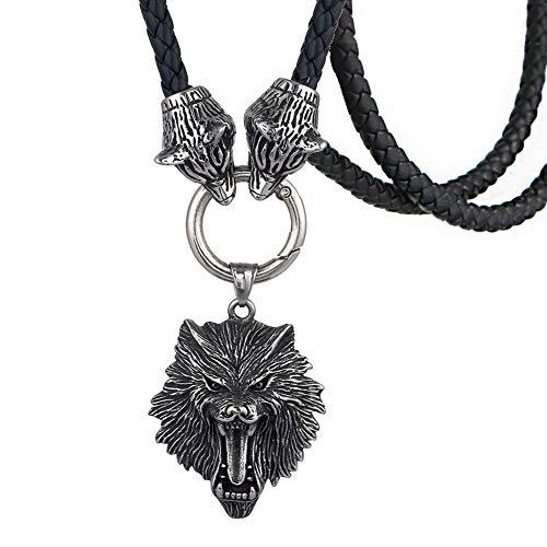 WDBAYXH Joyería Vikinga para Hombre Celtic Fenrir Wolf Colgante Collar de Cordón de Cuero Trenzado, Collar de Cadena Pagana Escandinavo Nórdico de Acero Inoxidable Amuleto Regalos,60CM