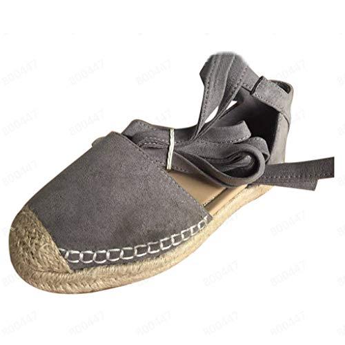 AIni Damen Schuhe Mode Elegant Sommer Flache Schnür Espadrilles für Chunky Holiday Sandals Beiläufiges Strand Party Schuhe(39,Khaki)