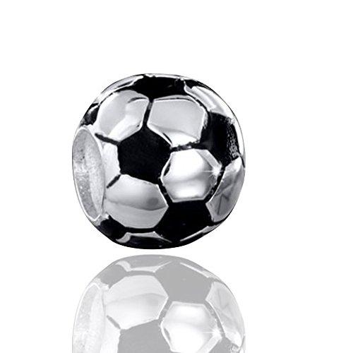 MATERIA Beads calcio Sport argento Sterling 925con smalto nero, per Bead bracciale # 1505