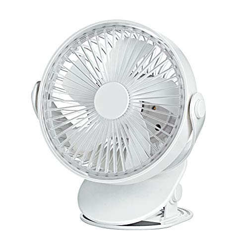 EXTSUD Mini Ventilador con Clip, Ventilador de Mesa USB, Ventilador Recargable con Luz Nocturna, Ideal para Oficina, Cochecito, Escritorio, Camping