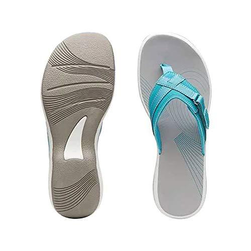 Damen Zehentrenner Badeschuhe Slippers Beach Strandsandale Flip Flops Surfen Pool Sandalen Pantoletten Leicht Freizeit Bequem rutschfest Sommer(1-Blau/Blue,35)