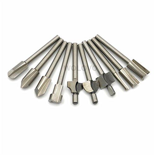 HSS-Oberfräsen-Bits, 10 Stück, 3 mm, Mini-Schaft, für Dremel Foredom Drehwerkzeug-Set