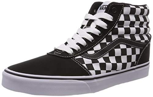Vans Ward Hi Suede/Canvas, Zapatillas Altas Hombre, Negro ((Checkerboard) Black/White 5gx), 41...
