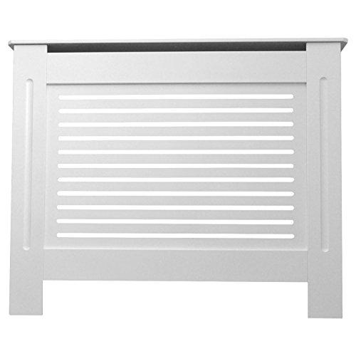 Jack Stonehouse Radiator Cover Modern Horizontal Slat MDF Wood Cabinet, White, Small + Extra Height