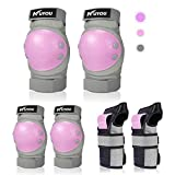 KUYOU スケボー プロテクター キッズプロテクター 膝/肘/手首 保護パッド スポーツプロテクター 6本セット 子供用保護ギア インラインスケート ローラースケートに適用 収納袋付き (パープル+グレー)
