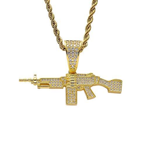 KMASAL Joyería Colgante de ametralladora con colgante chapado en oro de 18 quilates con circonita cúbica y diamantes de imitación para hombres y mujeres (plata)