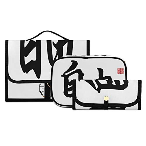 Bolsa de Maquillaje de 3 Piezas Bolsa de Aseo Bolsa de Cepillo Bolsa de cosméticos portátil Organizador de Viaje Bolsa de Lavado Resistente al Agua para Mujeres, niñas, Hombres, Mujeres, traducción d