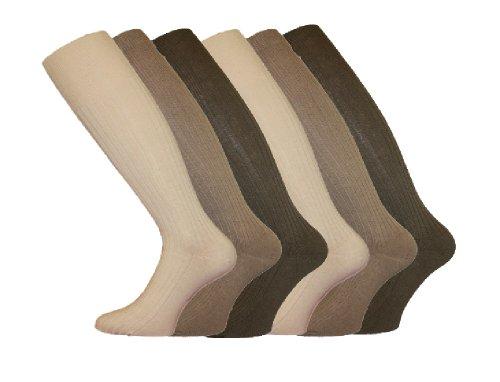 Lot de 3 paires de chaussettes longues pour homme 100 % coton Marron/beige