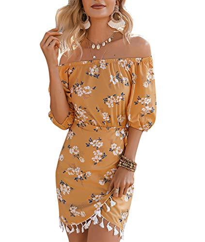Amegoya Women's Summer Off Shoulder Puff Sleeve Mini Elastic Waist Wrap Dress(12,Yellow)