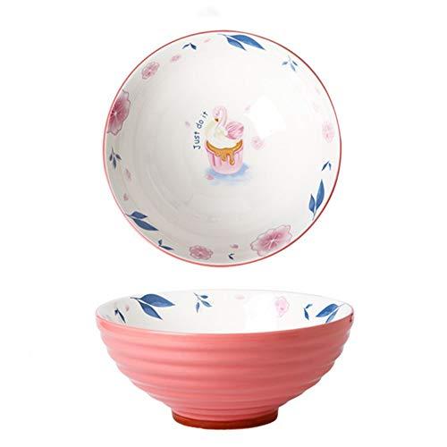 Ramen Schüssel, Großer Schwan Japanischer Schüssel mit Stäbchen 900ml, Vintage Ramen Bowl Salatschüssel, Persönlichkeit Suppenschüssel für Müsli, Udon Nudel, Vorspeise