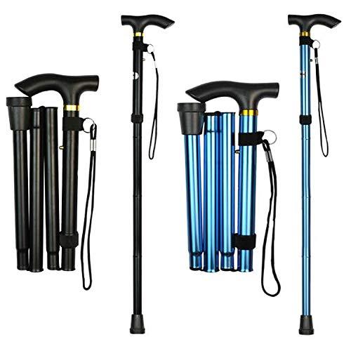 Liuer 2PCS Bastones para Caminar Ancianos de Aluminio Regulable Bastones Plegables Mujer Hombre Bastón Plegable para Practicar Senderismo,Caminar,Viajar(Ajustable de 84cm - 93cm)