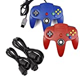 miadore 2 Pack Classic N64 Controllers (Blue/Red) Bundle with 2 Pack 6FT N64 Controller Extension Cable for N64 Console Video Games