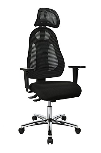 Topstar Free Art Chrom, ergonomischer Bürostuhl, Schreibtischstuhl, inkl. höhenverstellbarer Armlehnen und Kopfstütze, Stoff, Schwarz/Schwarz
