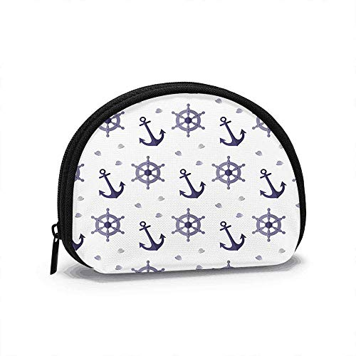 Nautical Steering Wheel Adorable Women Girls Shell Cosmetic Make Up Storage Bag Outdoor Shopping Coins Wallet Organizer