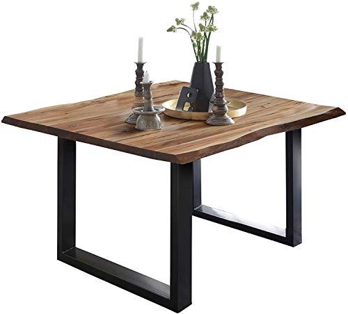 SAM Esszimmertisch 80 x 80 cm Mephisto, Baumkantentisch naturfarben, Akazienholz massiv, U-Gestell aus Metall schwarz