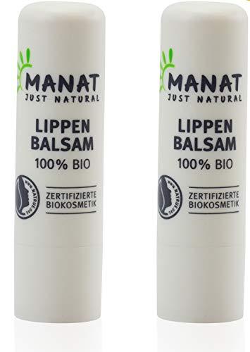 Naturkosmetik Lippenpflege, 2er Pack (2x4,8g) 100% natürlicher, biologischer Lippenbalsam von MANAT - zertifizierte Biokosmetik