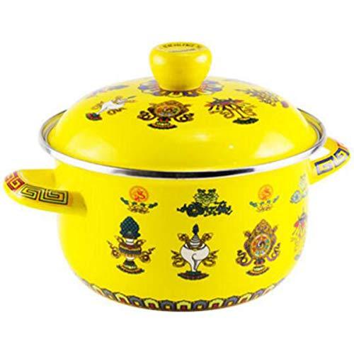 Huaishu Featured Melk Theepot Prachtige Soep Pot Emaille Pot Mode Servies Water Pot Geel
